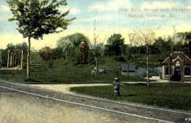 New Mills Bridge & Pumping Station - Gardiner, Maine ME Postcard
