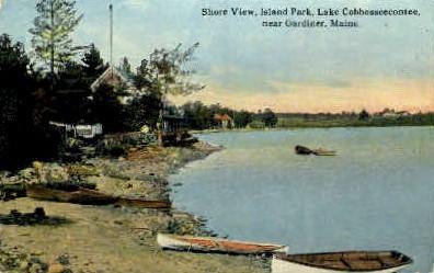 Island Park, Lake Cobbosseecontee - Gardiner, Maine ME Postcard