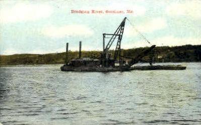Dredging River - Gardiner, Maine ME Postcard
