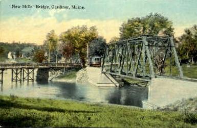 New Mills Bridge - Gardiner, Maine ME Postcard