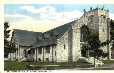 St. Josephs Catholic Church  - Gardiner, Maine ME Postcard