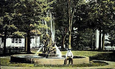 Palmer Fountain - Gardiner, Maine ME Postcard