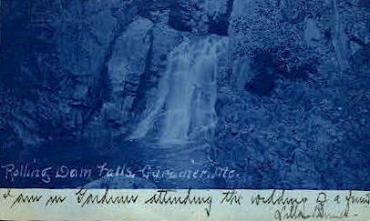 Rolling Dam Falls - Gardiner, Maine ME Postcard