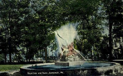 Fountain & Park - Gardiner, Maine ME Postcard