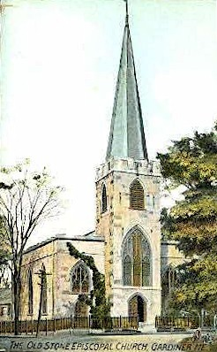 The Old Stone Episcopal Church - Gardiner, Maine ME Postcard