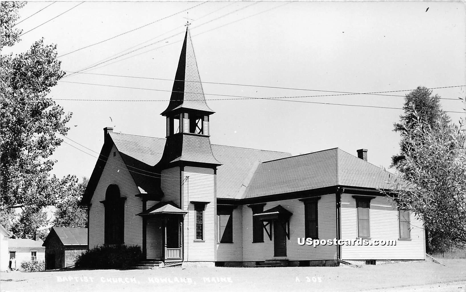 Baptist Church - Howland, Maine ME Postcard