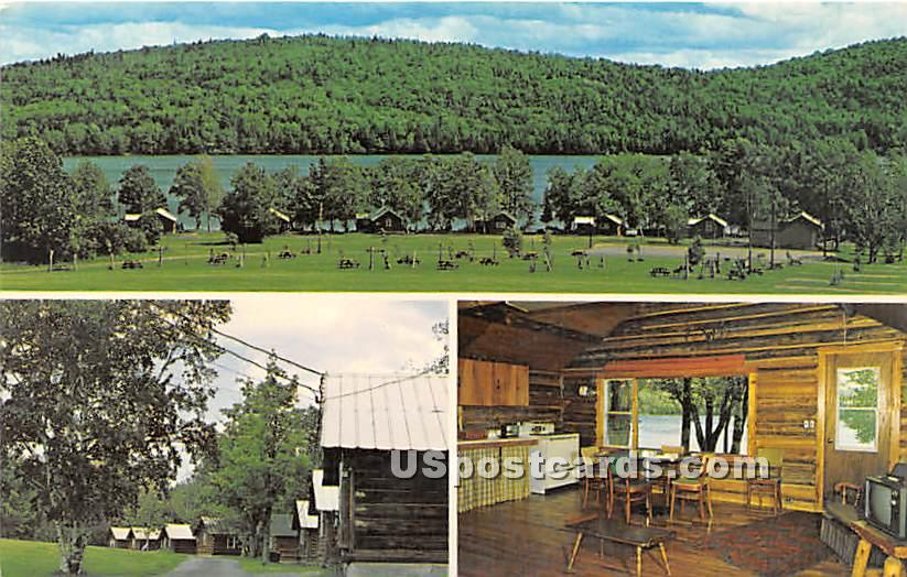 Birch Point Log Lodges, Cottages & Camping Area - Island Falls, Maine ME Postcard