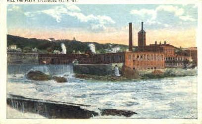 Mill & Falls - Livermore Falls, Maine ME Postcard