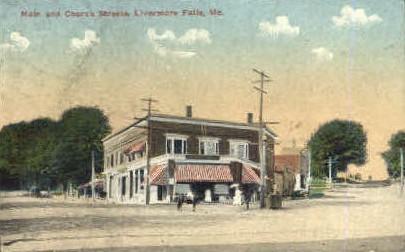 Main & Church Sts. - Livermore Falls, Maine ME Postcard