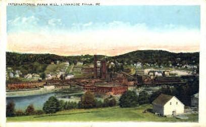 International Paper Mill - Livermore Falls, Maine ME Postcard
