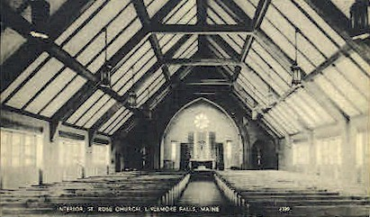 Interior, St. Rose Church - Livermore Falls, Maine ME Postcard