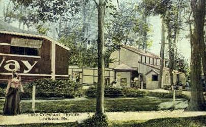 Lake Grove & Theatre - Lewiston, Maine ME Postcard