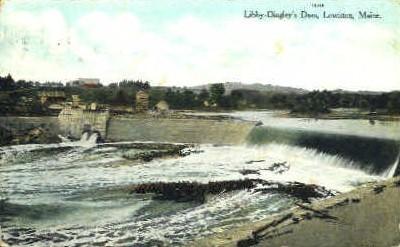 Libby-Dingley's Dam - Lewiston, Maine ME Postcard