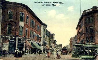 Corner of Main & Lisbon Sts. - Lewiston, Maine ME Postcard
