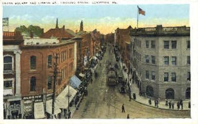 Union Square & Lisbon St. - Lewiston, Maine ME Postcard