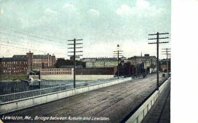 Bridge - Lewiston, Maine ME Postcard