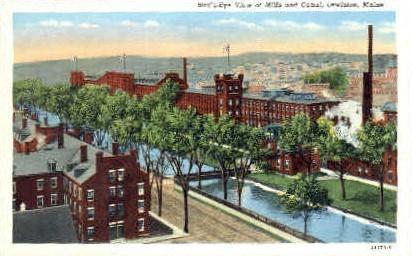 Mills & Canal - Lewiston, Maine ME Postcard