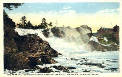 Indians Head & Old Man of the Falls - Lewiston, Maine ME Postcard
