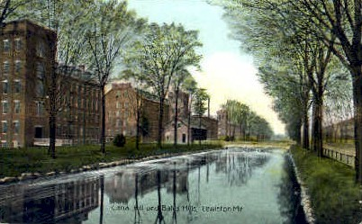 Canal Hill & Bates Mill - Lewiston, Maine ME Postcard
