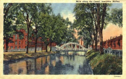 Mills along the Canal - Lewiston, Maine ME Postcard