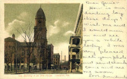 City Building & DeWitt House - Lewiston, Maine ME Postcard