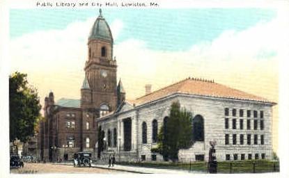 Public Library & City Hall - Lewiston, Maine ME Postcard
