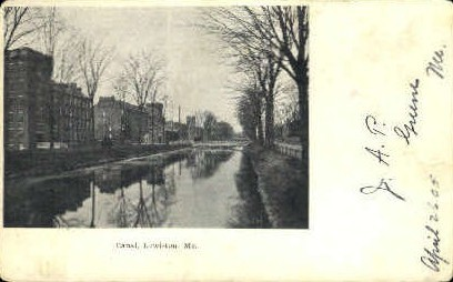 Canal - Lewiston, Maine ME Postcard