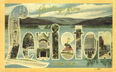 Greetings From - Lewiston, Maine ME Postcard