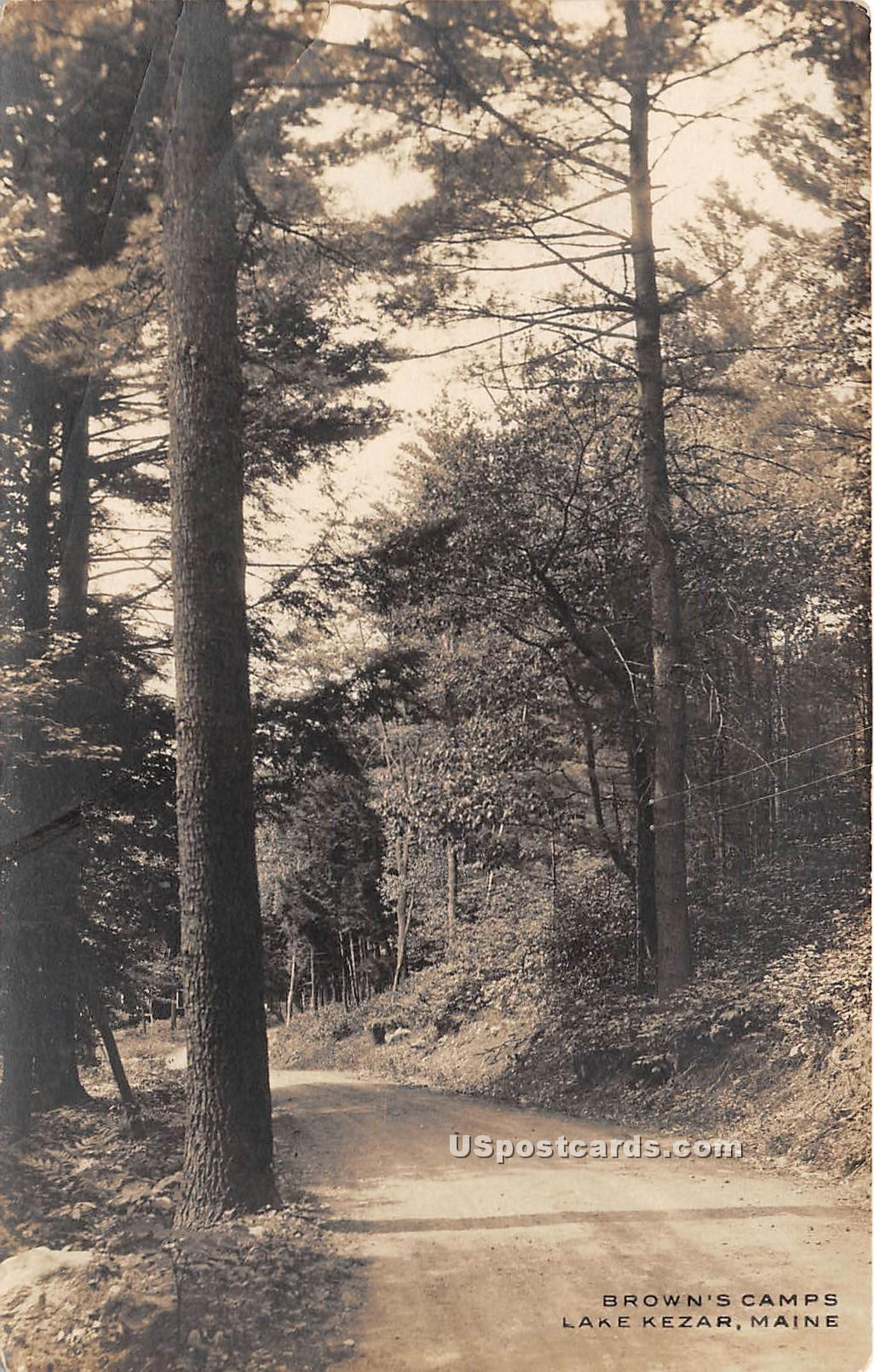 Brown's Camps - Lake Kezar, Maine ME Postcard