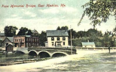 Pope Memorial Bridge - East Machias, Maine ME Postcard