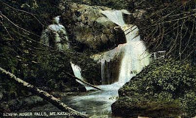 Screw Auger Falls - Mt. Katahdin, Maine ME Postcard