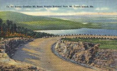 Cadillac Mt. Road - Mt. Desert Island, Maine ME Postcard