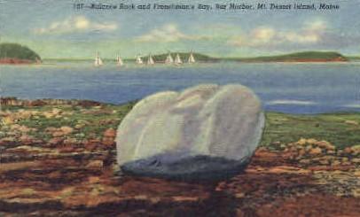 Balance Rock & Frenchman's Bay - Mt. Desert Island, Maine ME Postcard