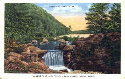 Bubble Pond & Falls - Mt. Desert Island, Maine ME Postcard