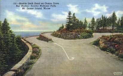 Double Deck Road - Mt. Desert Island, Maine ME Postcard