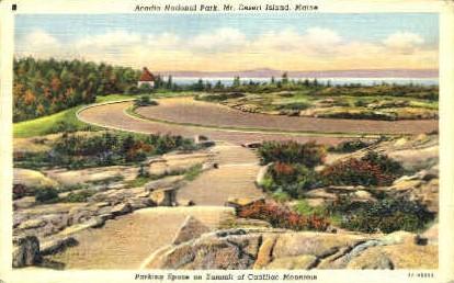 Parking Space, Summit of Mt. Cadillac - Mt. Desert Island, Maine ME Postcard