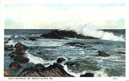 Surf & Rocks - Mt. Desert Island, Maine ME Postcard