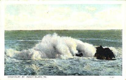 Ocean Surf - Mt. Desert Island, Maine ME Postcard