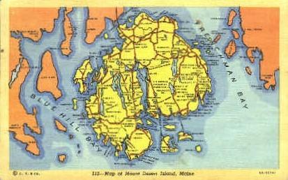 Map - Mt. Desert Island, Maine ME Postcard