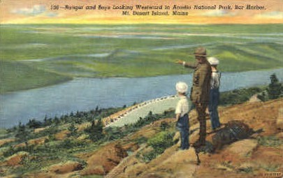 Ranger & Boys  - Mt. Desert Island, Maine ME Postcard