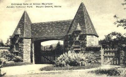 Entrance Gate, Brown Mountain - Mt. Desert Island, Maine ME Postcard