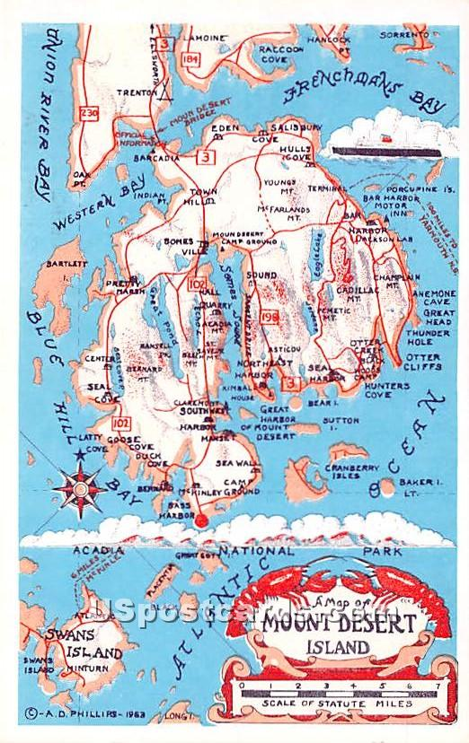 A Map - Mount Desert Island, Maine ME Postcard