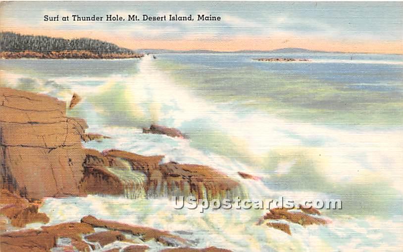 Surf at Thunder Hole - Mount Desert Island, Maine ME Postcard