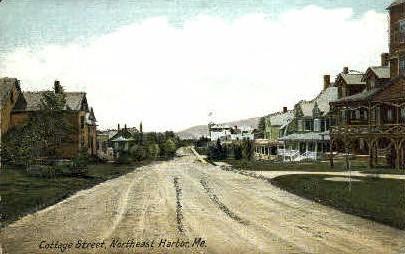 Cottage St. - Northeast Harbor, Maine ME Postcard