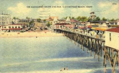 The Amusement Center & Pier - Old Orchard Beach, Maine ME Postcard