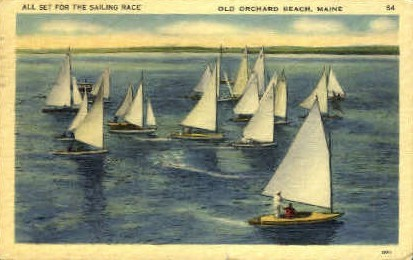 Sailing Race - Old Orchard Beach, Maine ME Postcard