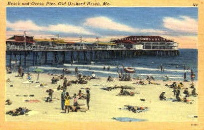 Beach & Ocean Pier - Old Orchard Beach, Maine ME Postcard