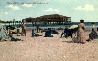 Pier & Beach - Old Orchard Beach, Maine ME Postcard