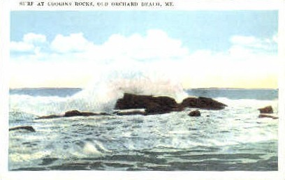 Surf, Googin's Rock - Old Orchard Beach, Maine ME Postcard