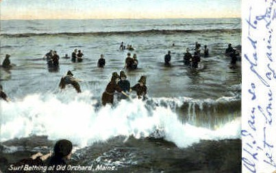 Surf Bathing - Old Orchard Beach, Maine ME Postcard
